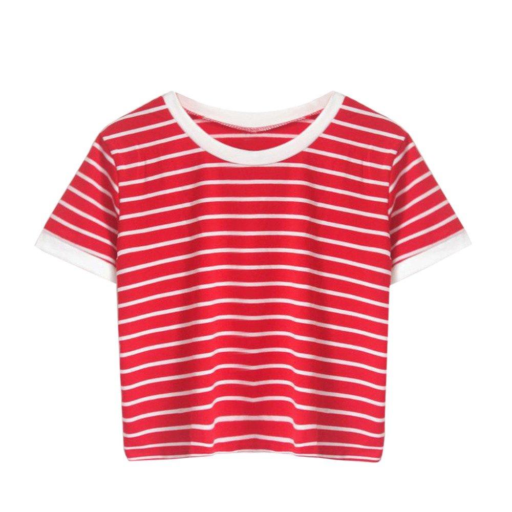 HGWXX7 Women Casual Striped Short Sleeve O Neck Red Tops Short Paragraph T Shirt