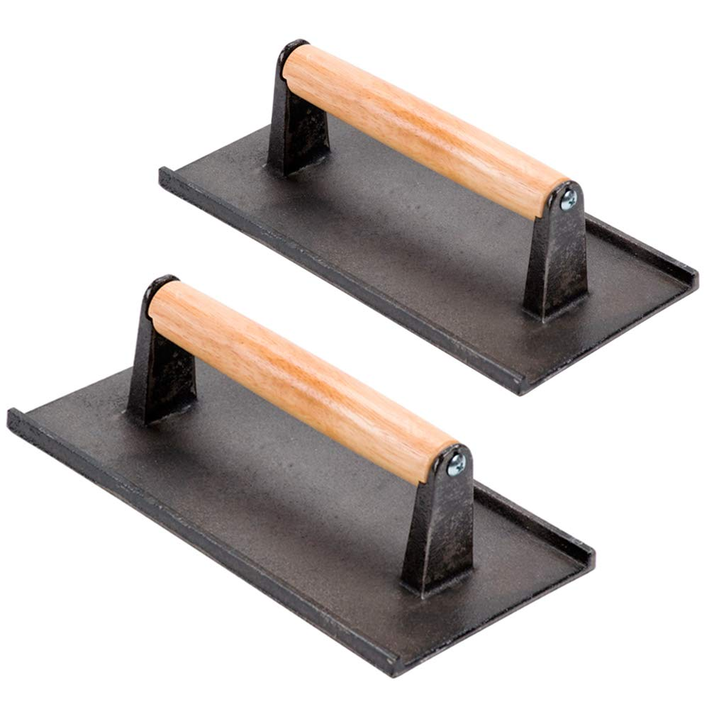 (Set of 2) Cast Iron Steak Weight/Bacon Press with Wooden Handle, 9 x 5-Inch Heavy-Weight Grill Press by Tezzorio, Commercial Grade Burger/Panini Weight Press by Tezzorio Kitchen Utensils
