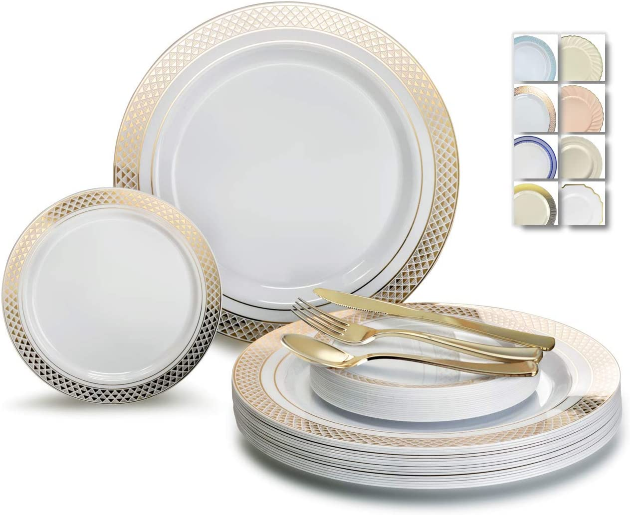 OCCASIONS 600 Pcs Set & 120 GuestWedding Disposable Plastic Plate & Silverware Combo Set (Celebration White & Gold plates, Gold Silverware) 61Ob0P7ppQL