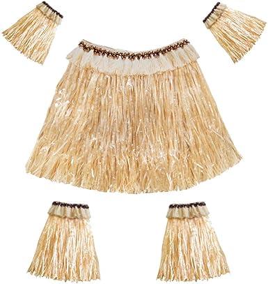 Amosfun Conjunto de Falda de Hierba Hawaiana Bandas para Brazos y ...