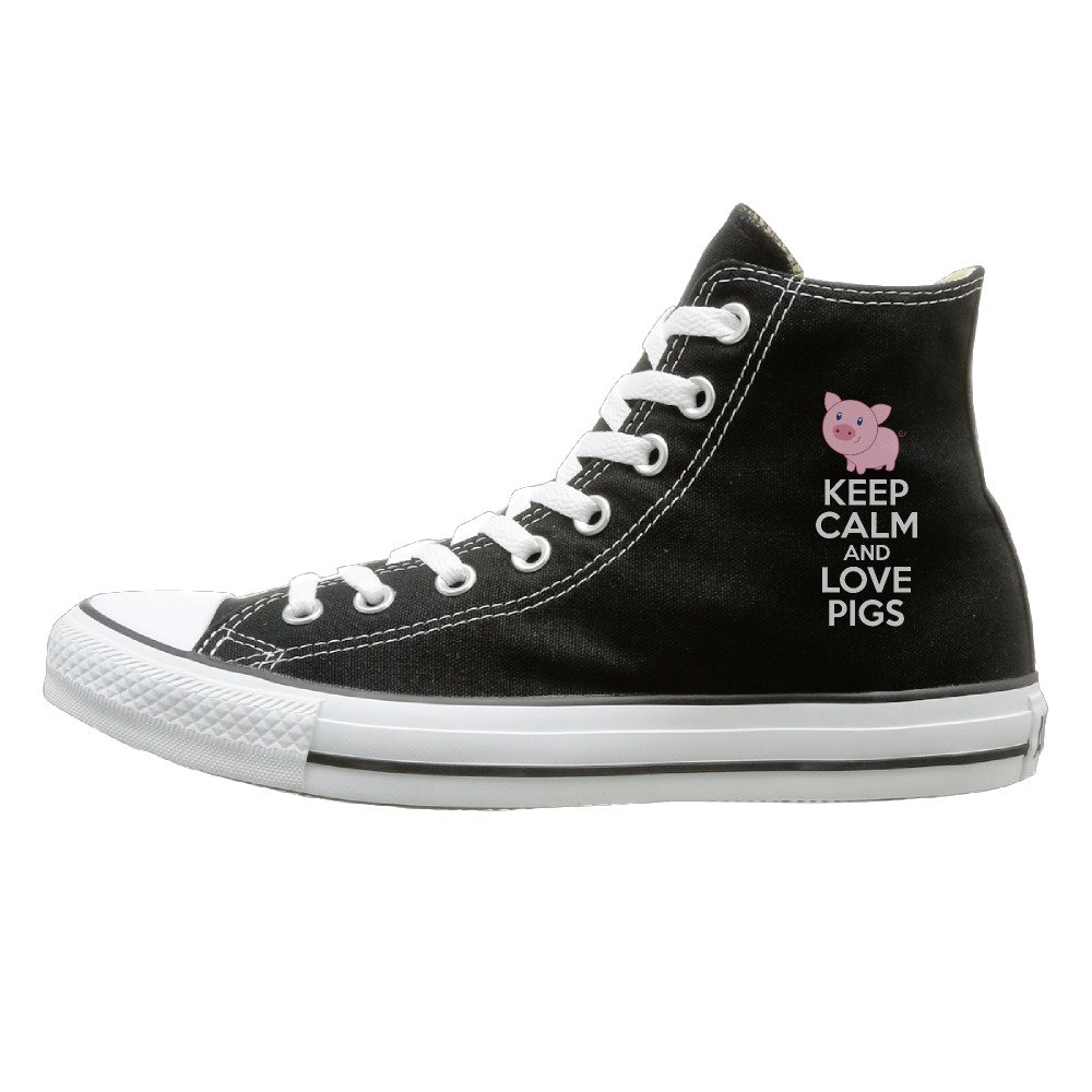 ff5c86bca6d Keep Calm And Love Pigs Fashion Casual Canvas High Top Shoes Sneakers  Unisex lovely