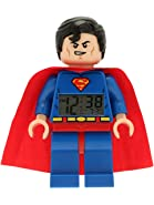 LEGO DC Comics Super Heroes Superman Kids Minifigure Light Up Alarm Clock | blue/red | plastic | 9.5 inches tall | LCD display | boy girl | official