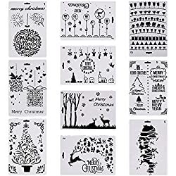 Welecom 10 Pack Christmas Stencils Drawing Template Xmas Scrapbooking Journal Stencil Template for Greeting Card DIY Art Craft Project- Merry Christmas,Santa Claus,Christmas Tree,Snowflakes