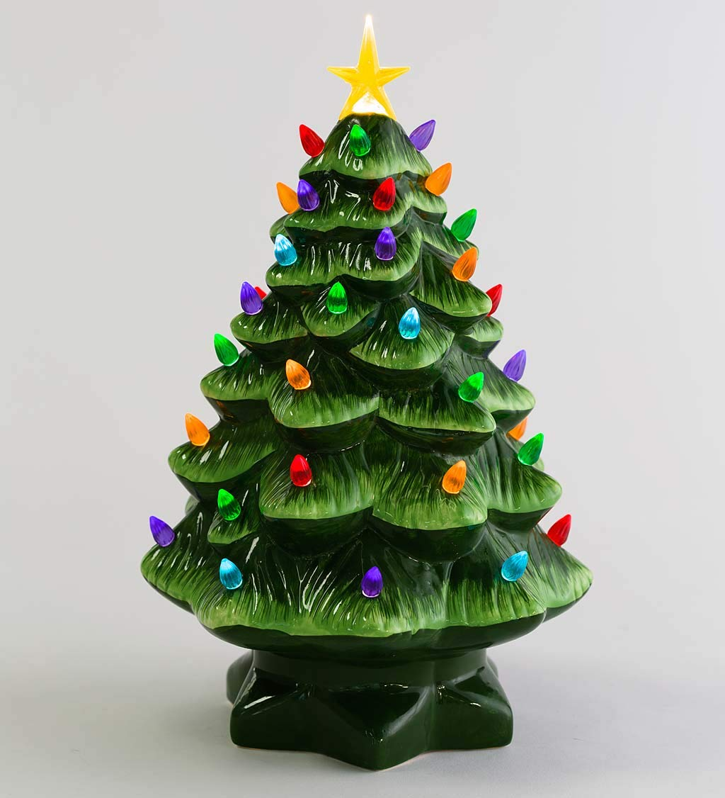 Plow Hearth 14 Indoor Outdoor Battery Operated Lighted Ceramic Christmas Tree 8 75 Dia Green