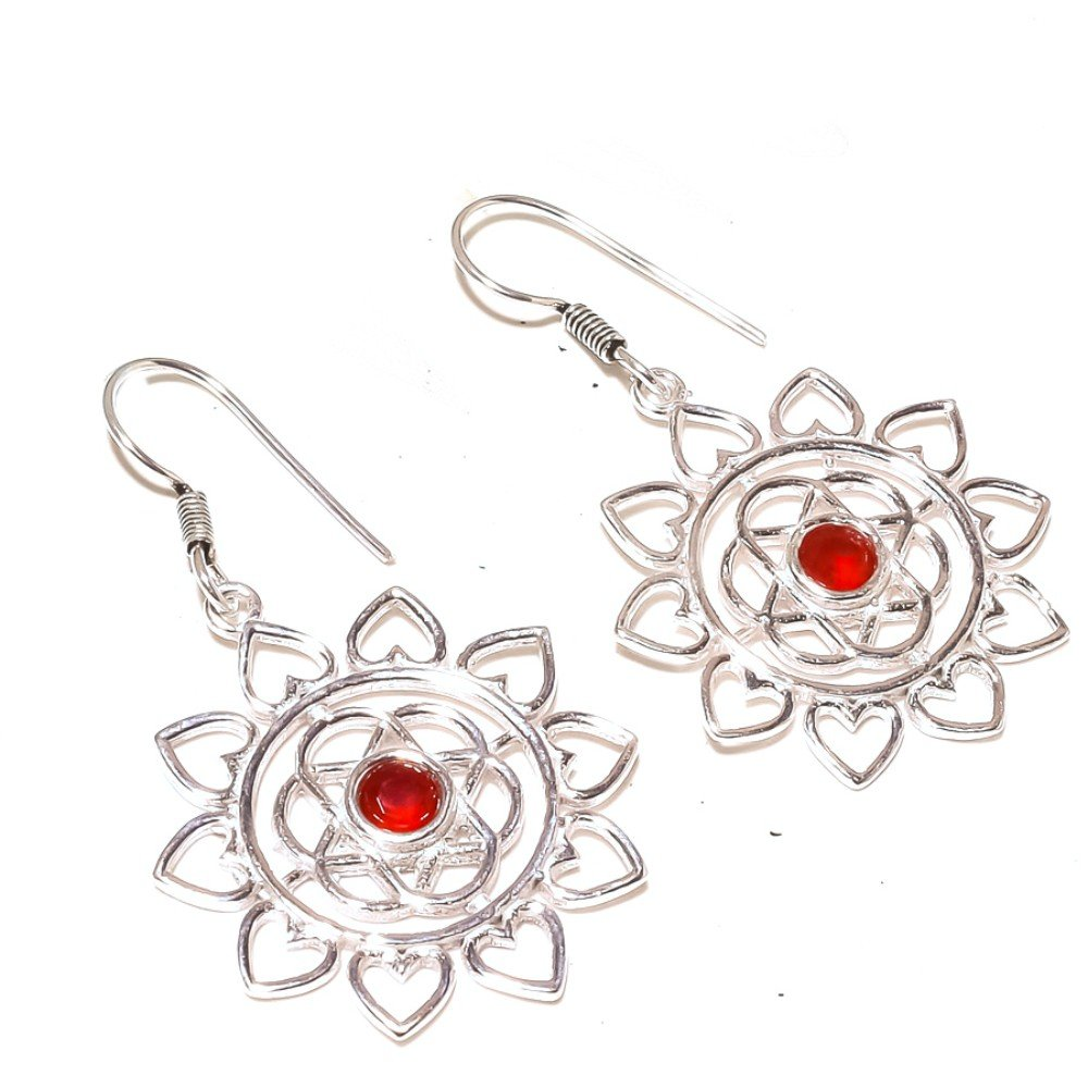 Latest Design Red Dyed Ruby Sterling Silver Overlay 6 Grams Earring 2 Long