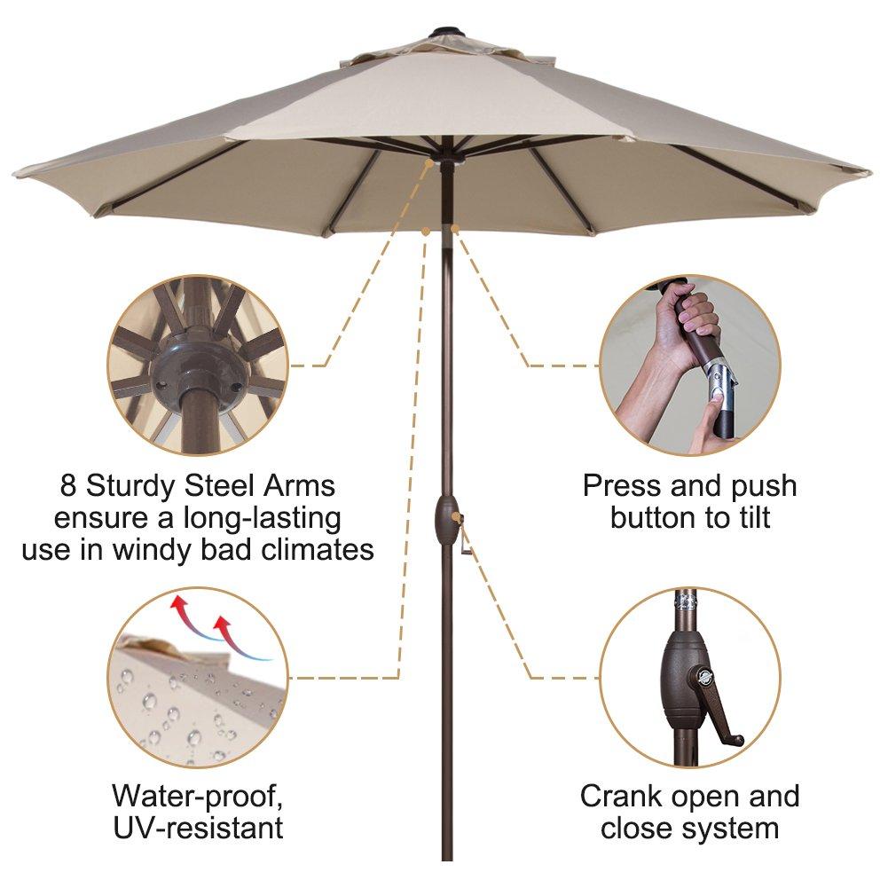 Abba Patio Outdoor Patio Umbrella 9 Feet Patio Market Table Umbrella with Push Button Tilt and Crank, Beige by Abba Patio (Image #4)