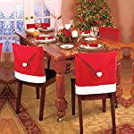 LOHOME Santa Hat Chair Covers, Set of 8 PCS Santa Clause Red Hat Chair Back Covers Kitchen Chair Covers Sets for Christmas Holiday Festive Decor