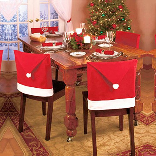 LOHOME® Santa Hat Chair Covers, Set of 4 PCS Santa Clause Red Hat Chair Back Covers Kitchen Chair Covers Sets for Christmas Holiday Festive Decor Holiday Santa Hat