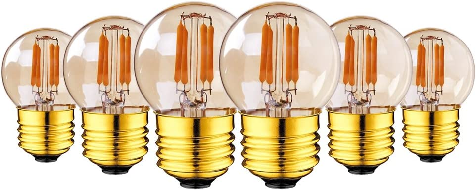15 Pack 2W E26 LED Light Bulb,G40 LED Filament Mini Globe Light Bulb 20W Replacement Equivalent Ultra Warm White 2200K Amber Glow Outdoor String Lights Non-Dimmable