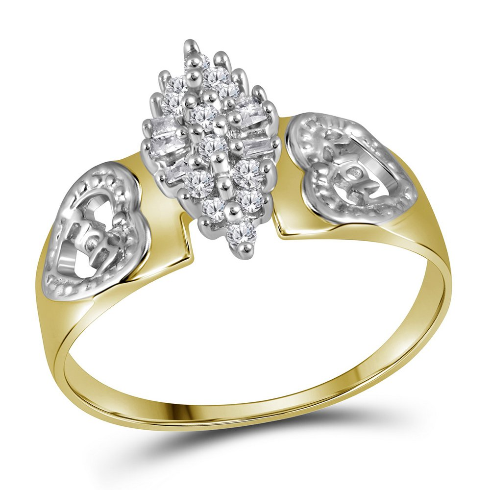 Yellow-tone Sterling Silver Round Diamond Heart Mom Cluster Ring 0.11 Cttw Size 7