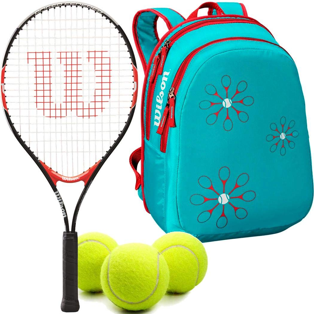 Wilson Federer 23 Inch Junior Tennis Racquet Set or Kit Bundled with a Light Blue/Red Kid's Tennis Backpack and a Can of Tennis Balls