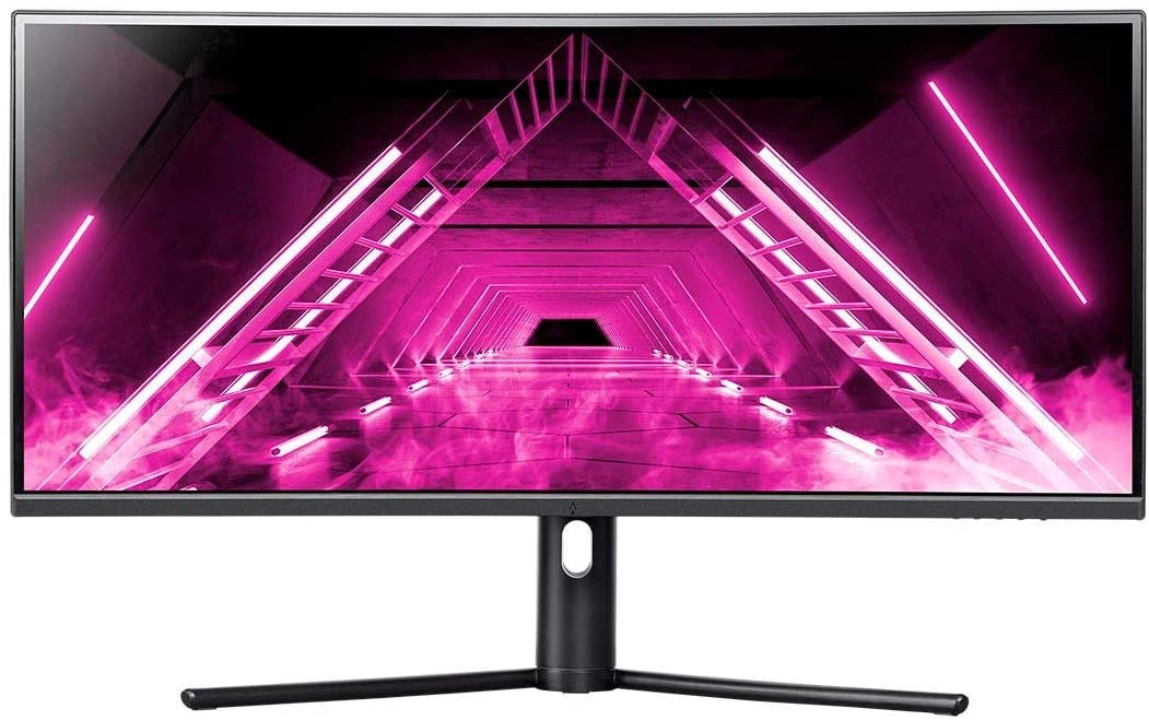 Dark Matter by Monoprice 34in Curved Ultrawide Gaming Monitor - 21:9, 1500R, UWQHD, 3440x1440p, 144Hz, 4ms GTG, DisplayHDR 400, AMD FreeSync, Height Adjustable Stand, Quantum Dot, VA, Black (140776)