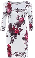 Cruiize Womens Casual One Shoulder Long Sleeve Floral Bodycon Mini Dress