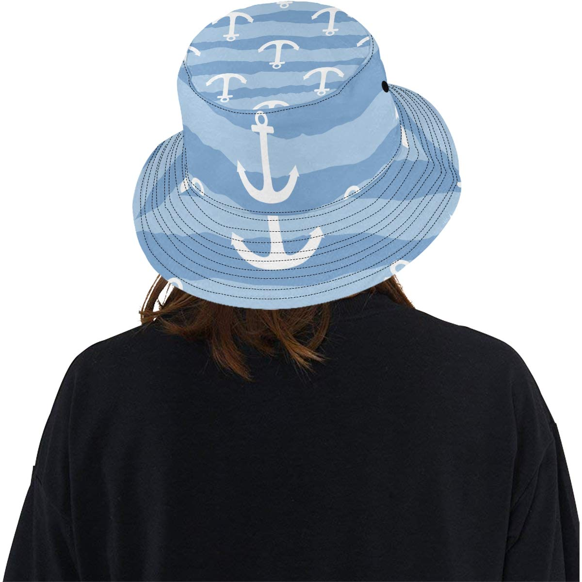Teens Women and Men with Customize Top Packable Fisherman Cap for Outdoor Travel Marine Sea Anchor Sailor New Summer Unisex Cotton Fashion Fishing Sun Bucket Hats for Kid