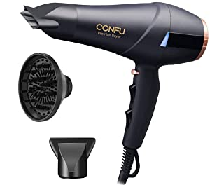 Professional Ionic Hair Dryer CONFU 1875W AC Motor Blow Dryer with Diffuser 2 Concentrators Fast Drying with 3 Heat 2 Speed Settings Cool Shot Button LED Night Light ETL Certified Black