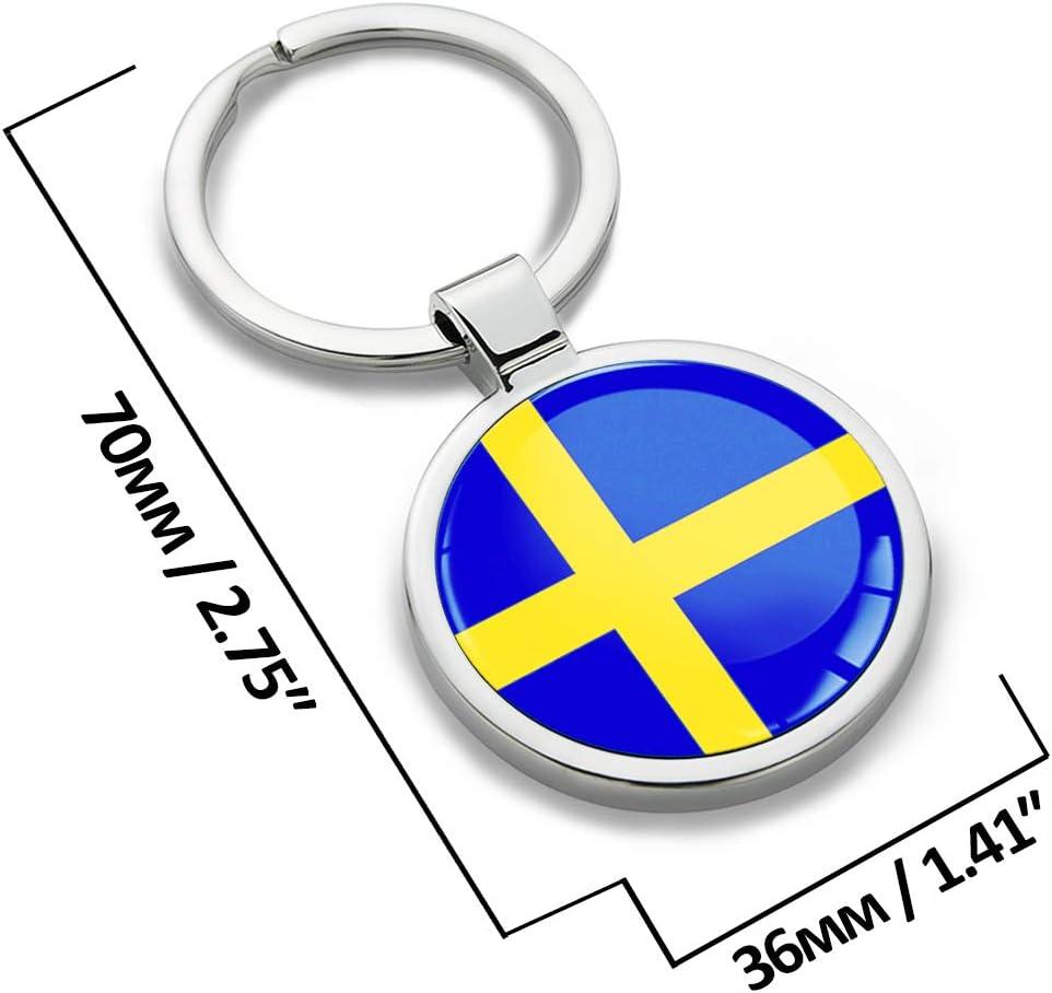 Biomar Labs® Llavero de Metal 3D con Bandera Nacional Suecia Sueca Sweden Flag, Regalo para Hombre y Mujer KK 254: Amazon.es: Coche y moto