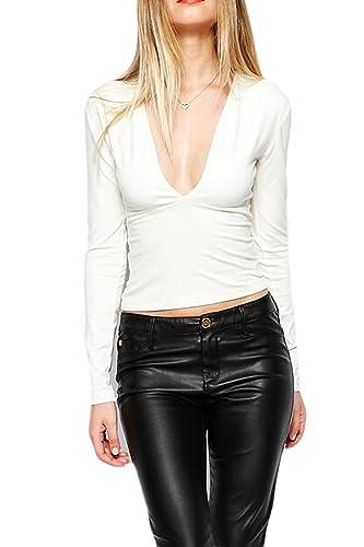 Profundo Cuello En V Manga Larga Mujer Plain Top Camiseta Blusa