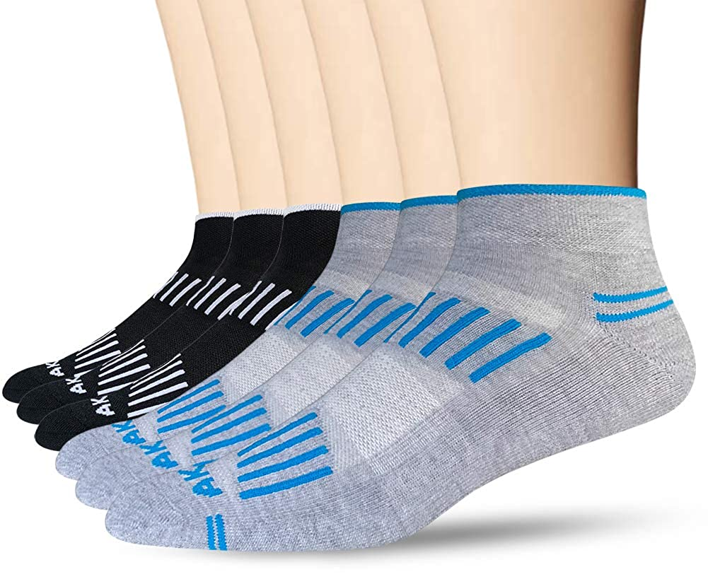 AKOENY Mens Low Cut Ankle Sport Socks with Moisture Wicking 6 Pack