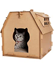 e0f6a2867b43 Cardboard Cat House Scratcher, Cat Corrugated House with Scratching Pad for  Indoor Cat Kitten Kitty