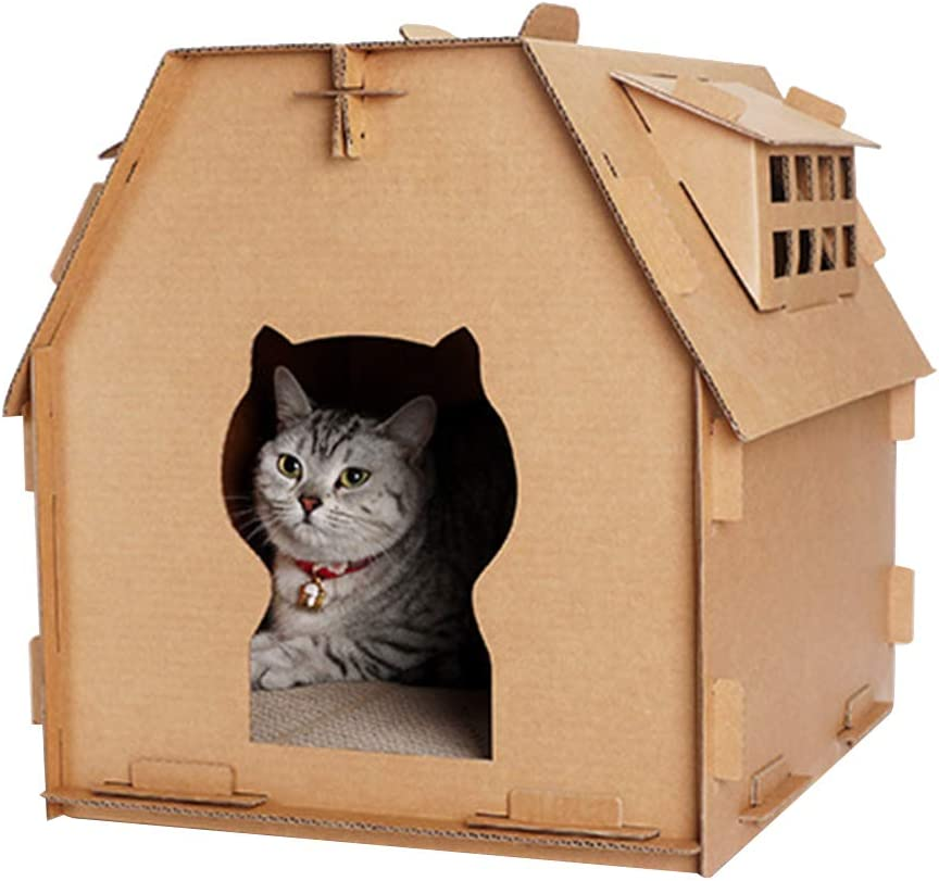 Cardboard Cat House Scratcher Cat Corrugated House With Scratching Pad For Indoor Cat Kitten Kitty Diy Durable Recyclable Paper Carton Cat House Amazon Co Uk Pet Supplies