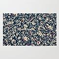 Society6 Navy Garden - Floral Doodle Pattern In Cream, Dark Red & Blue Rug