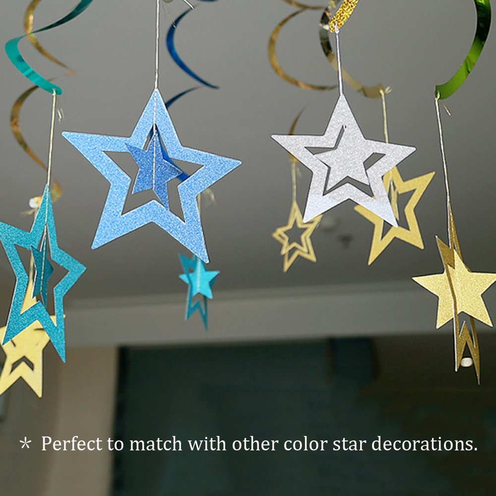 Lacheln Twinkle Twinkle Little Star Hanging Decorations for Baby Shower Birthday Party (Glitter Silver 28 Pcs)