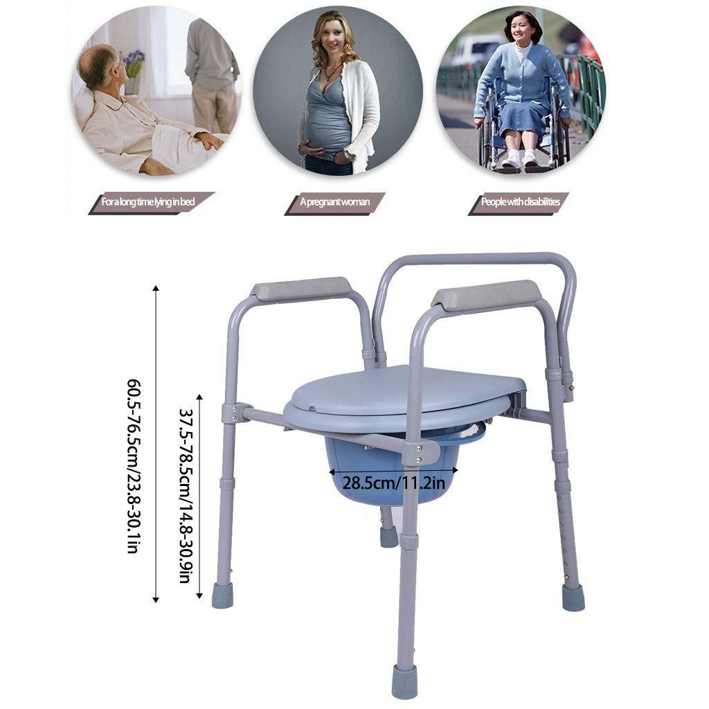 Graysky Steel Drop Arm Bedside Commode Folding Walker with Padded Seat Arms and Wheels for Adults Handicap, Seniors and those with limited mobility, US Stock (Gray) by Graysky (Image #6)