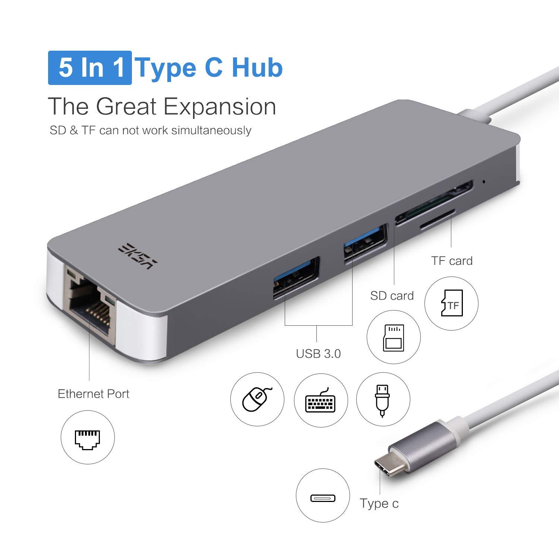 EKSA USB C Hub 5 in 1 Aluminium USB C Adapter mit Amazon puter & Zubehör