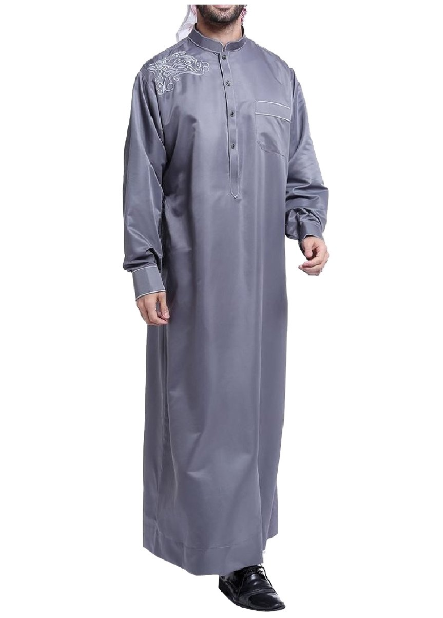Coolred Mens Oversized Embroidery Long Sleeve Saudi Arabia Muslim Thobe Dark Grey XS