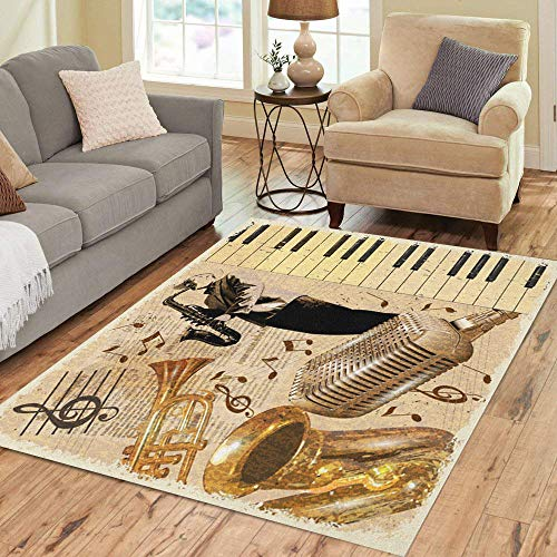 Semtomn Area Rug 5' X 7' Collage Vintage Musical Instruments and Musician Mic Old Piano Home Decor Collection Floor Rugs Carpet for Living Room Bedroom Dining Room