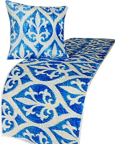 青ランナー、45 x 133 cm con funda de almohadaデザイナーツインベッドスカーフ青ベルベット衾 Damask Calm B07CPTFMC4 ツイン 45_x_133_cm ベッドランナー 枕カバー付き|C5. 象牙/電気の 青 C5. 象牙/電気の 青 ツイン 45_x_133_cm ベッドランナー 枕カバー付き