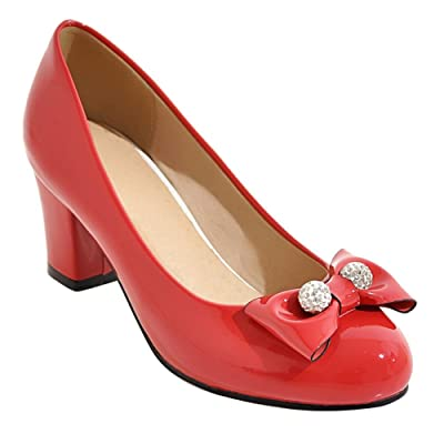 Carolbar Women's Bows Patent Leather Mid Heel Beaded Pumps Shoes