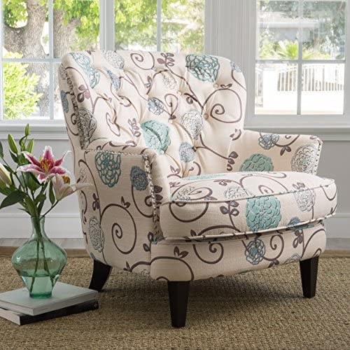 Christopher Knight Home Tafton Arm Chair, White Blue