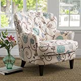 Alfred Tufted Fabric Club Chair, Contemporary Lounge Accent Chair, Cream and Blue Floral