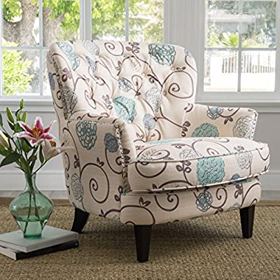 Christopher Knight Home Tafton Fabric Club Chair, White / Blue Floral - Includes: One (1) Club Chair Dimensions: 35.25 inches deep x 33.00 inches wide x 33.75 inches high Seat Width: 24.00 inches Seat Depth: 24.25 inches Seat Height: 19.25 inches - living-room-furniture, living-room, accent-chairs - 61Ob6XkSk6L. SS400  -