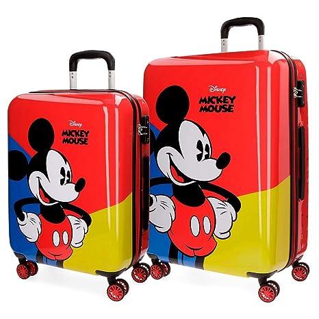 Disney Mickey Juego de Maletas, 69 cm, 108 litros, Rojo