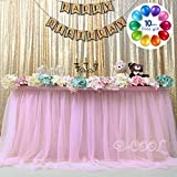 B-COOL Tulle Pink Table Skirt 3yards Romantic TUTU Fluffy Table Skirt for Wedding Baby Shower Girl Princess Birthday Party Decor(L9(ft) H 30in)