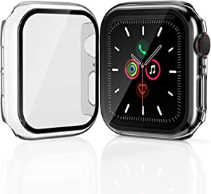 [2 Pack] Geekboy for Apple Watch Screen Protector 44mm 42mm 40mm 38mm, Tempered Glass iWatch Cover for Series SE/6/5/4/3/2/1 Premium Bumper for iPhone Watch