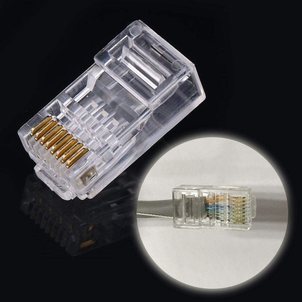 100 PCS//LOT Cat6 Cat6a Network Internet Connector 8P8C RJ45 Modular Plug Cable Heads for Home Industrial Suchinm Network Cable Plug