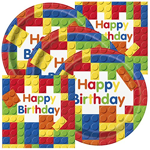 Colorful Building Blocks Birthday Party Plates and Napkins (Serves 16)
