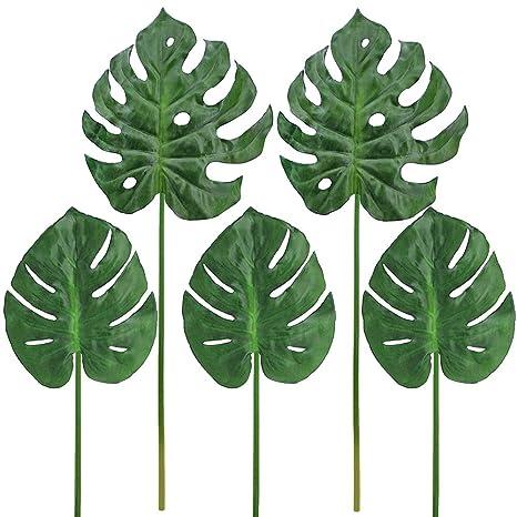 Supla - 5 hojas de palma tropicales de filodendro artificiales de hojas de palmera artificial de