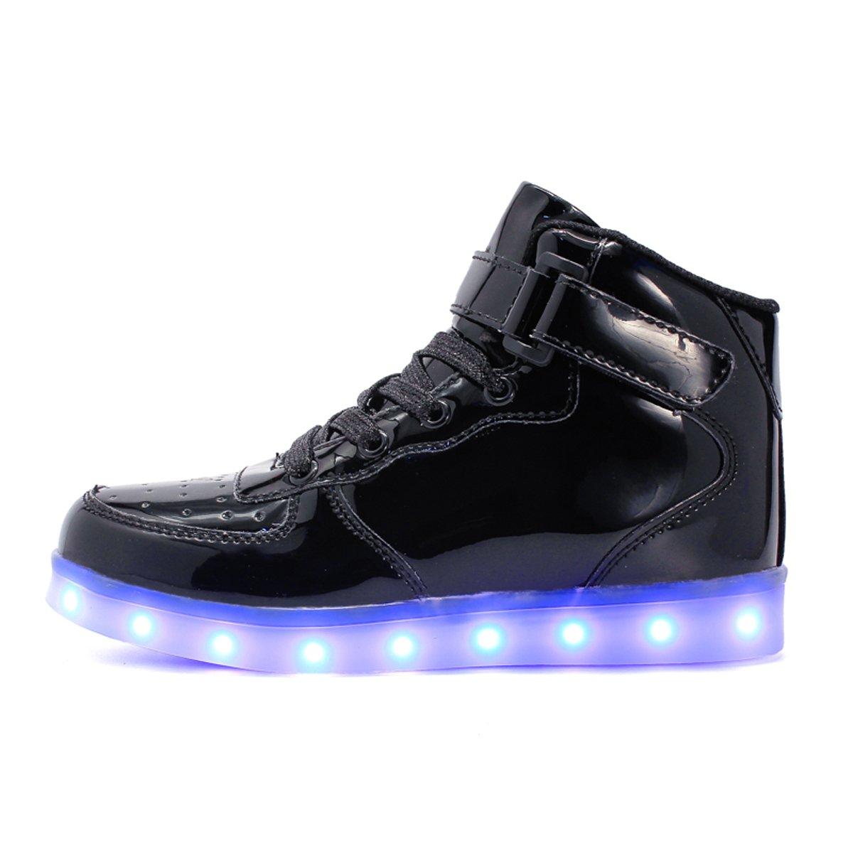 Maniamixx Kids LED Light up Shoes Flashing Sneakers High-Top USB Charging Shoes Boys Girls
