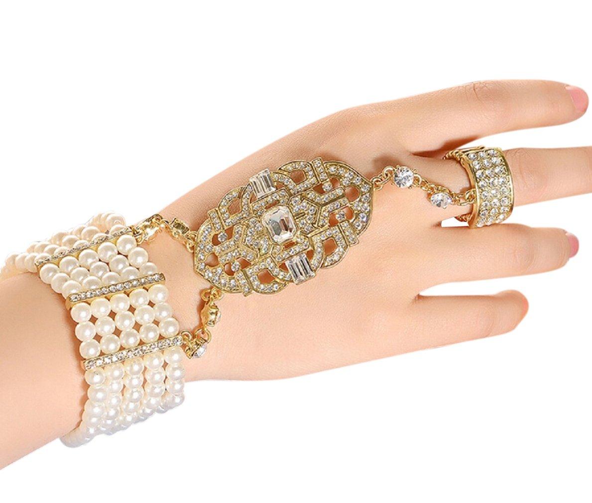 Zking Art Deco Movie Inspired Flower Pattern Simulated Pearl Bracelet Adjustable Ring Set (E-gold stone)