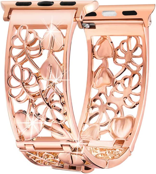 Compatible with Apple Watch Band 40mm 44mm Series 5 4 38mm 42mm Series 3 2, FresherAcc Floral Replacement Straps Compatible for iWatch Bands Bling Women Girls (Rose Gold 42mm 44mm)