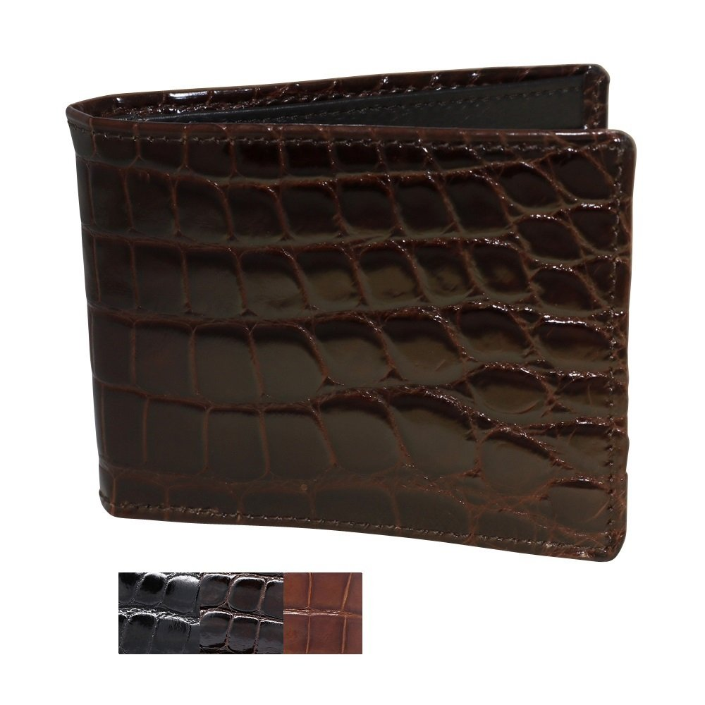 Brown Glazed Genuine Alligator Wallets for Men – ID Window -American Factory Direct – Gift box – Gifts for Men – Made in USA by Real Leather Creations FBA737 BT