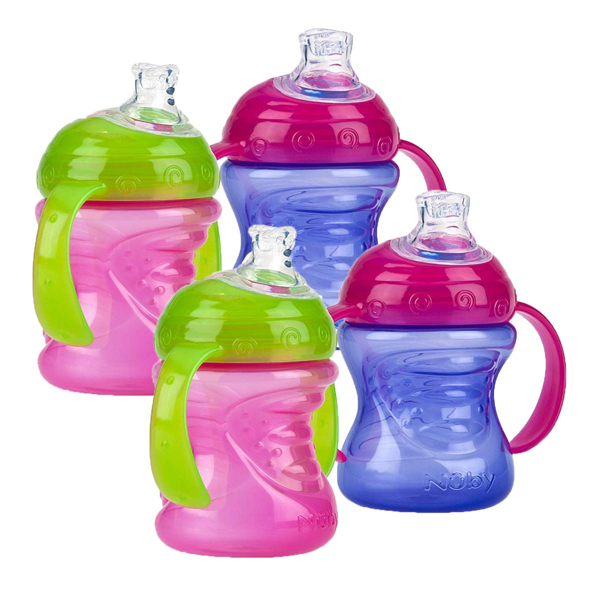Nuby Two-Handle No-Spill Super Spout Grip N' Sip Cups, 8 Ounce (4 Count, Pink/Purple)   by Nuby