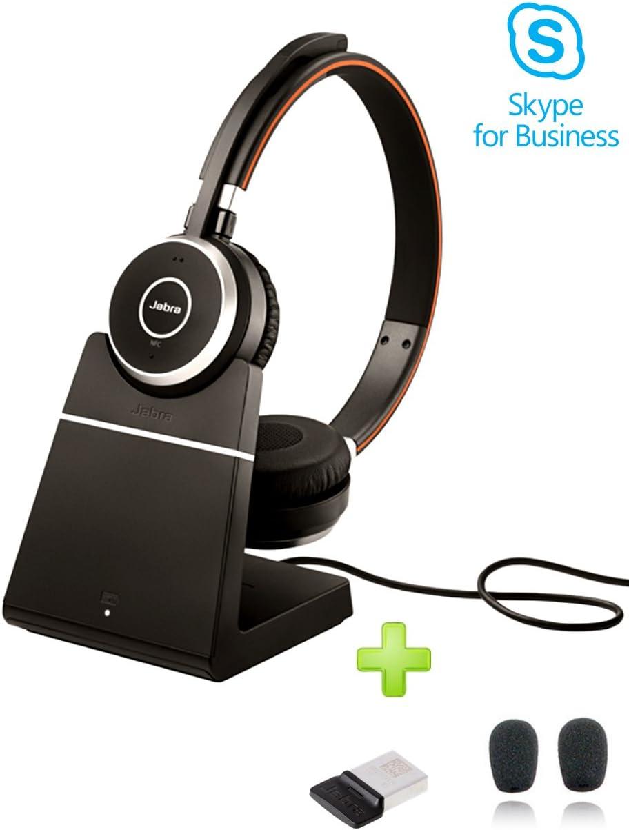 Amazon Com Jabra Evolve 65 Bluetooth Stereo Headset Bundle Ms Version Bonus Mic Cushions Usb Dongle Charging Stand Compatible Skype For Business Lync Softphones Smartphones Pc Mac 6599 823 399 B