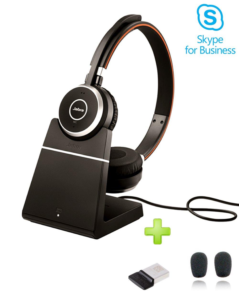 Jabra Evolve 65 Bluetooth Stereo Headset Bundle | MS Version | Bonus Mic Cushions, USB Dongle, Charging Stand | Compatible with Skype/Lync, Softphones, Smartphones, PC/MAC