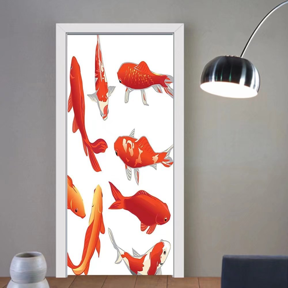 Gzhihine custom made 3d door stickers Ocean Animal Decor Legendary Koi Fish Band Chinese Good Fortune and Power Icon Tranquil Orange White For Room Decor 30x79