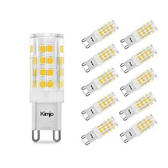10 x Bombillas LED Lámpara G9, Kimjo 5W Blanco Cálido 2800K Equivalente a 40W Lampara
